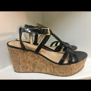 Kate Spade Patent Leather and Cork Sandals 7.5